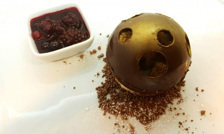 Chocolate orb with white chocolate & yoghurt cream, five spice sponge and berry preserve-min