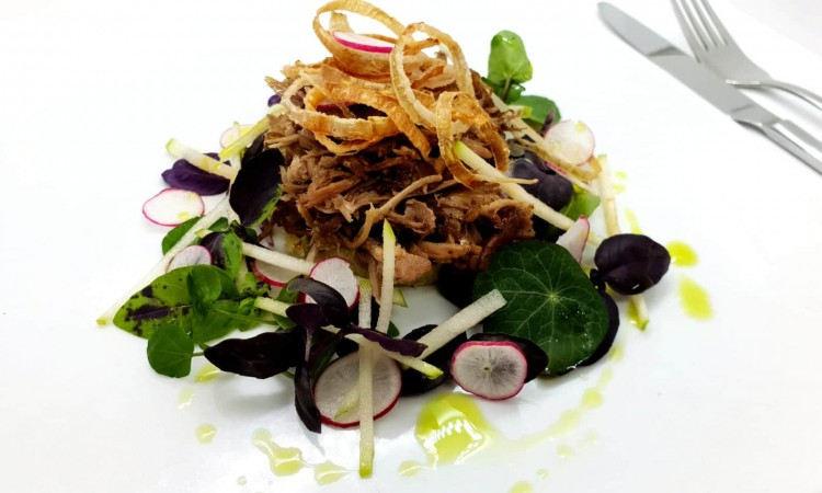 Confit duck with crispy onion rings and fresh autumn salad and brioche croutons-min