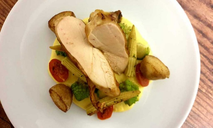 Pan fried chicken with sweet corn puree