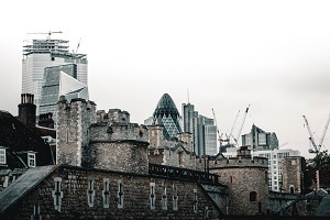 The Tower of London with a backdrop of the City of London